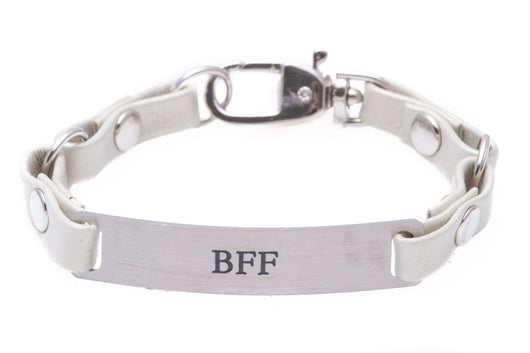 Mini Message Bracelet White Leather Best Friend Forever