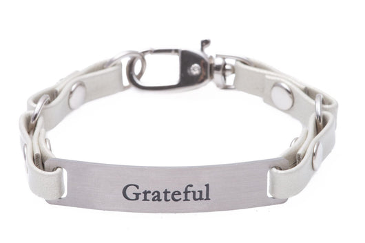 Mini Message Bracelet White Leather Grateful
