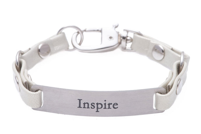 Mini Message Bracelet White Leather Inspire