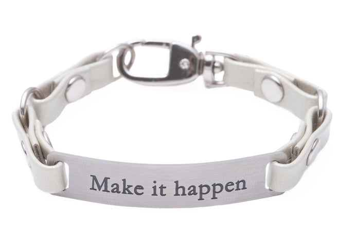 Mini Message Bracelet White Leather Make It Happen