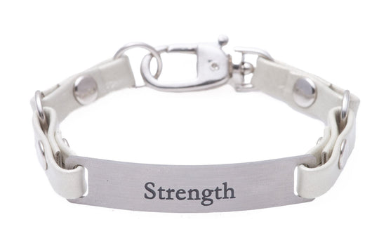 Mini Message Bracelet White Leather Strength