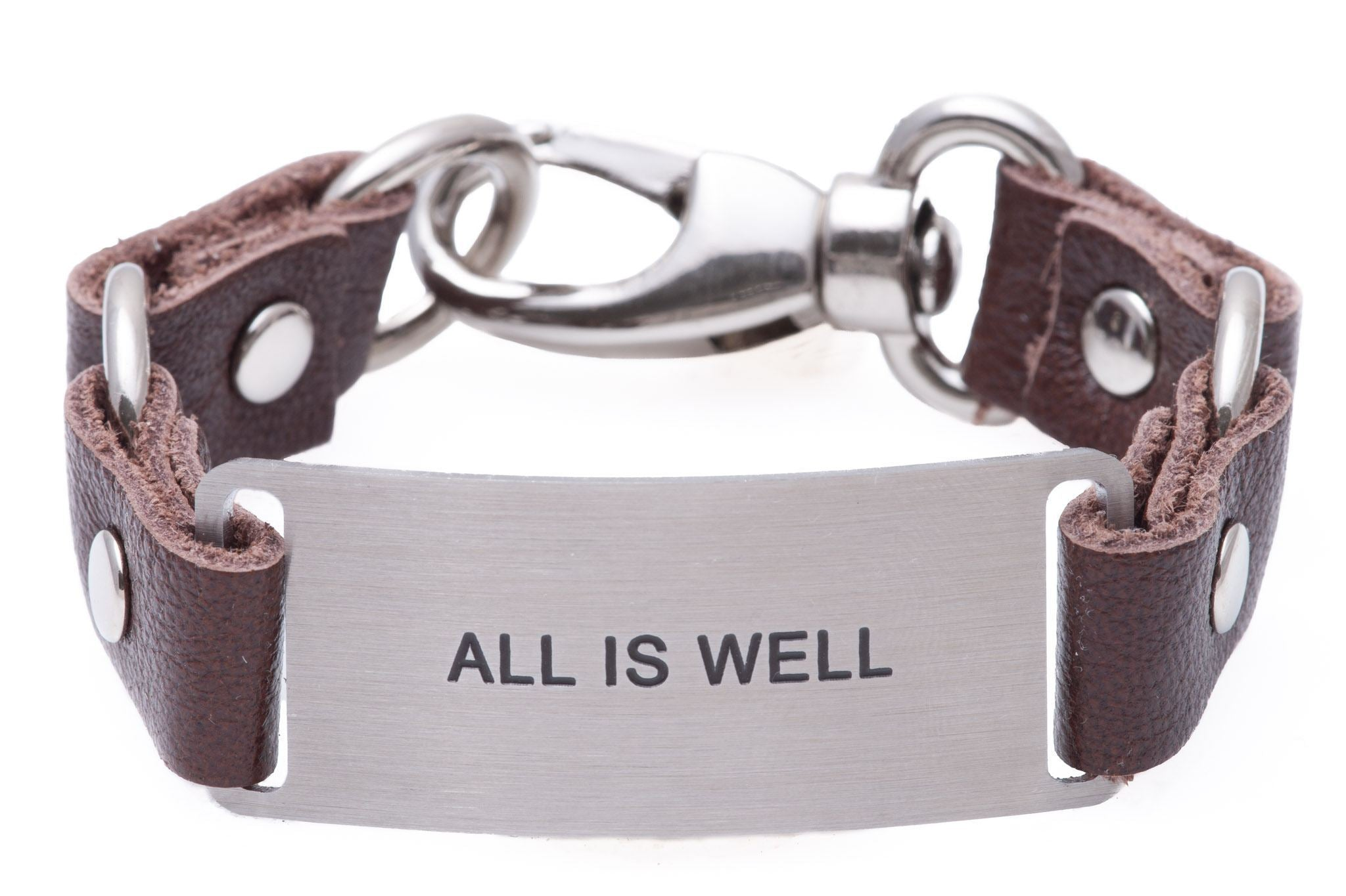 Inspirational Message Bracelet All is Well Chocolate Brown Leather
