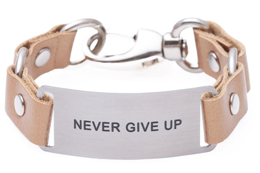 Message Bracelet Gold Leather Never Give Up