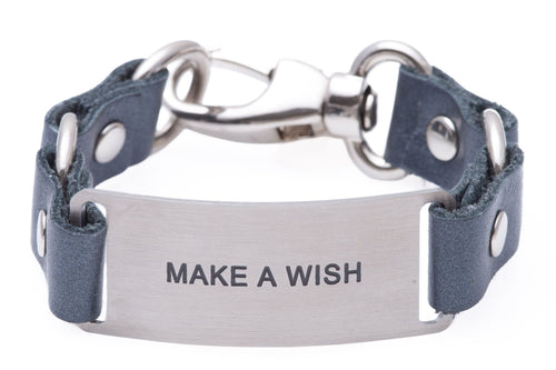 Message Bracelet Gray Leather Make A Wish