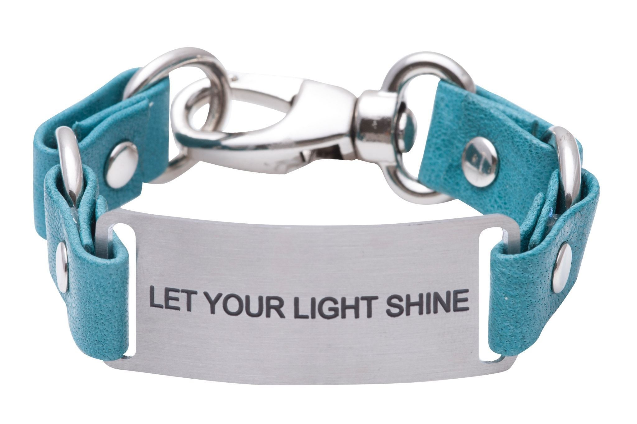 Load image into Gallery viewer, Message Bracelet Turquoise Leather Let Your Light Shine