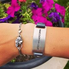 cynthia h designs layered message bracelet make everyday count saying Black Full Grain Leather