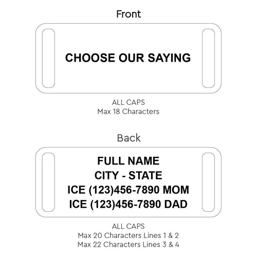 Cynthia H Design Custom Road ID ICE Contact Bracelet with Our Saying