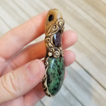 Load image into Gallery viewer, Ruby Zoisite and Amethyst Clay Pendant