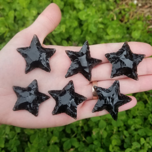 20 Pieces Wholesale $3.50 Each - Obsidian Hand Knapped Stars 1.5