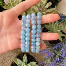 Load image into Gallery viewer, Aquamarine 8mm Gemstone Bracelet