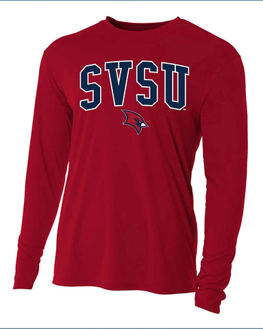 Saginaw Valley State University Cardinals NCAA Jumbo Arch Youth Long Sleeve T-Shirt