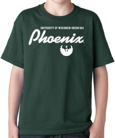 J2 Sport Wisconsin Green Bay Phoenix NCAA Machine Script Youth T-Shirt