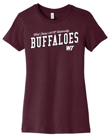J2 Sport West Texas A&M University Buffaloes NCAA Uphill Victory Womens T-Shirt