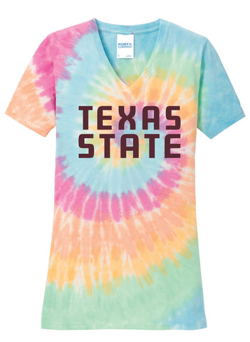 J2 Sport TXST Texas State University Bobcats NCAA Womens V-Neck Tie Dye T-Shirt