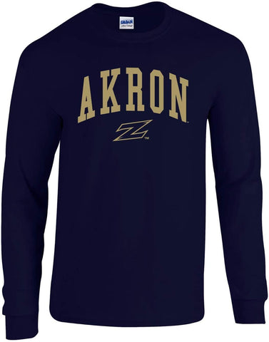 J2 Sport University of Akron Zips NCAA Jumbo Arch Navy Unisex Long Sleeve T-Shirts