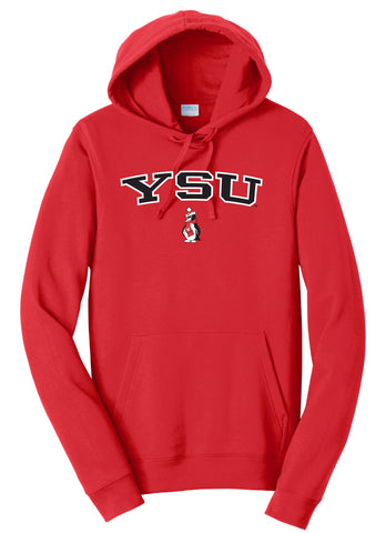 J2 Sport YSU Youngstown State University Penguins NCAA Jumbo Arch Unisex Hooded Sweatshirt