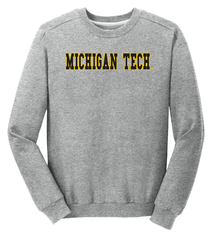 J2 Sport MTU Michigan Tech Huskies NCAA Block Unisex Crewneck Sweatshirt