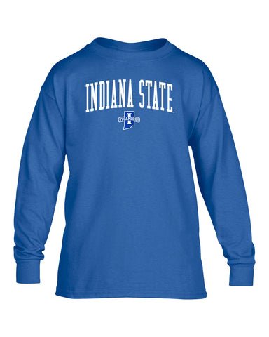 J2 Sport Indiana State University Sycamores NCAA Jumbo Arch Youth Long Sleeve T-Shirt