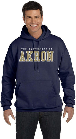 J2 Sport University of Akron Zips NCAA Unisex Block Navy Hooded Sweatshirt