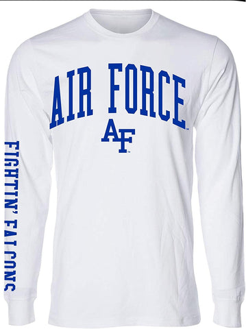 J2 Sport US Air Force Academy Falcons NCAA Unisex Jumbo Arch White Long Sleeve T-Shirts