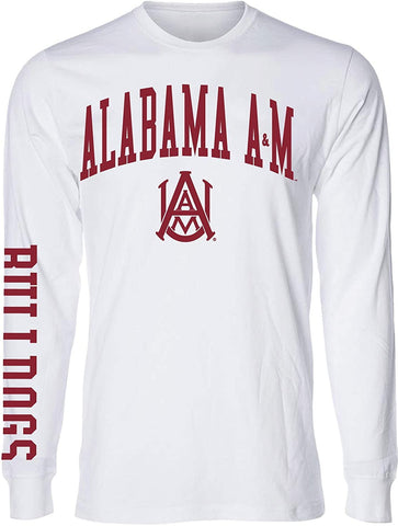 J2 Sport Alabama A&M Bulldogs NCAA Jumbo Arch White Unisex Long Sleeve T-Shirts