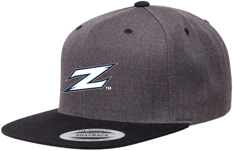 J2 Sport Akron University Structured Flat Visor Classic Two-Tone Snapback Hat with Patch