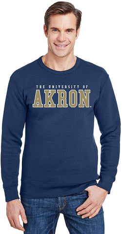 J2 Sport University of Akron Zips NCAA Unisex Block Navy Crew Neck Sweatshirt