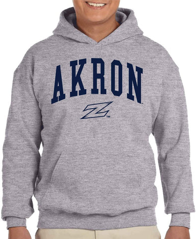 J2 Sport University of Akron Zips NCAA Unisex Jumbo Arched Grey Hooded Sweatshirt