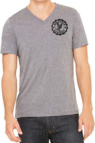 J2 Sport US Air Force Academy Falcons NCAA Unisex Grey V-Neck T-Shirts