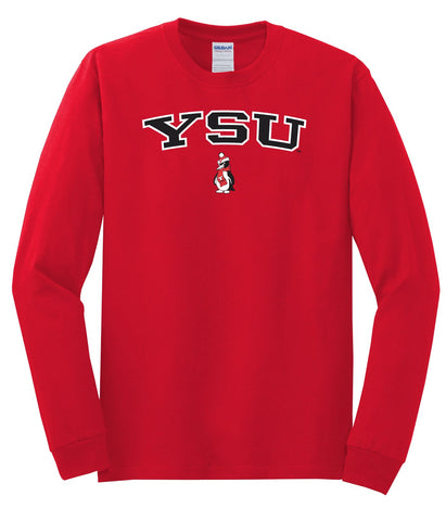 J2 Sport YSU Youngstown State University Penguins NCAA Jumbo Arch Unisex Long Sleeve T-Shirt