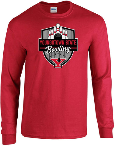 J2 Sport Youngstown State University Penguins NCAA Bowling Badge Unisex Long Sleeve T-Shirt