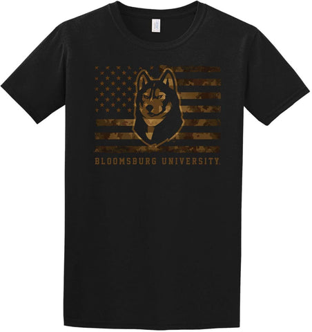 J2 Sport BU Bloomsburg University Huskies NCAA Unisex US Camo Flag T-Shirt