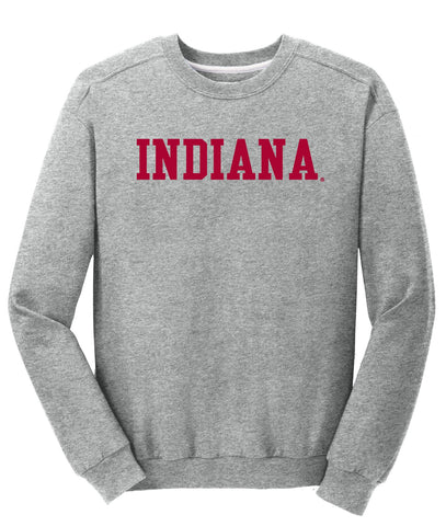 J2 Sport Indiana University Hoosiers NCAA Block Unisex Grey Crewneck Sweatshirt