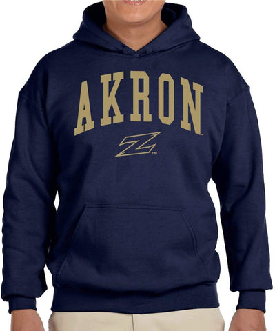 J2 Sport University of Akron Zips NCAA Unisex Jumbo Arched Navy Hooded Sweatshirt