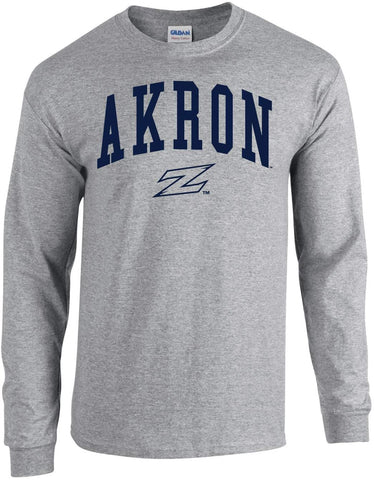 J2 Sport University of Akron Zips NCAA Jumbo Arch Grey Unisex Long Sleeve T-Shirts