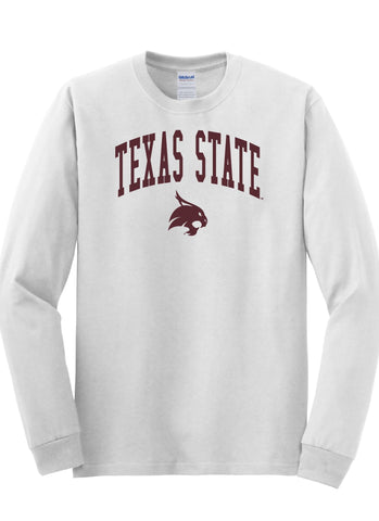 J2 Sport Texas State University Bobcats NCAA Jumbo Arch Unisex Long Sleeve T-Shirt
