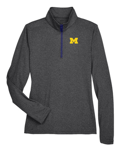 J2 Sport University of Michigan Wolverines NCAA Poly Spandex 1/4 Zip Sports Top