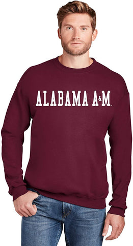 J2 Sport Alabama A&M Bulldogs NCAA Unisex Block Maroon Crewneck Sweatshirt