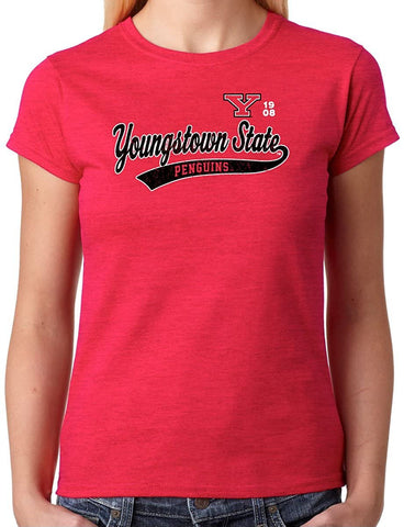 Youngstown State Sport Tail Junior T-shirt J2 Sport Youngstown State University Penguins NCAA Old School Sports Tail Women's T-Shirt