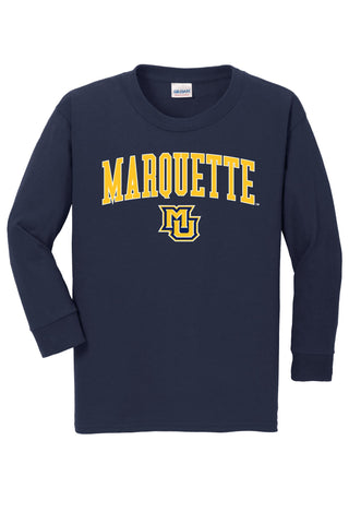 Marquette Golden Eagles NCAA Jumbo Arch Youth Long Sleeve T-Shirt