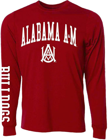 J2 Sport Alabama A&M Bulldogs NCAA Jumbo Arch Maroon Unisex Long Sleeve T-Shirts