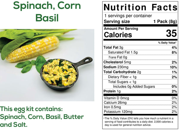 Spinach, Corn, Basil Egg Kits Ingredients and nutritional information