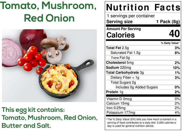 Tomato, Mushroom, Red Onion Egg Kits Ingredients and nutritional information