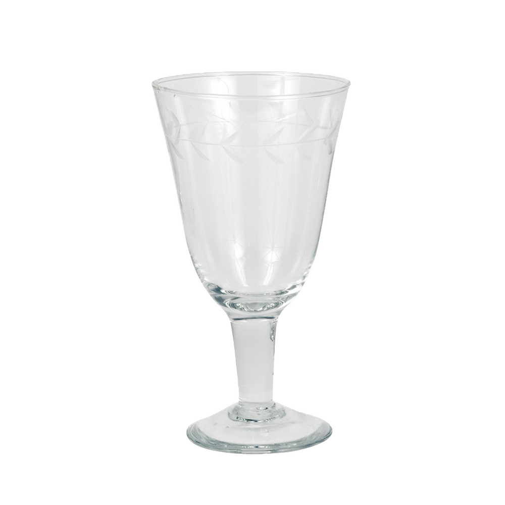 Set Of 4 Wine Glasses With Engraved Leaf Pattern