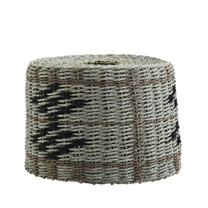 A lampshade made of paper rope in sage green, with black Aztec patterns and grey lines design