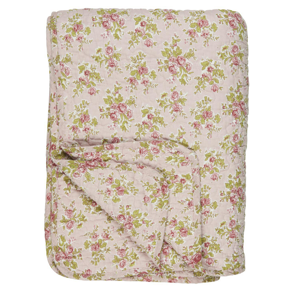 130 x 180 cm Light Pink with Red Roses Cotton Quilt