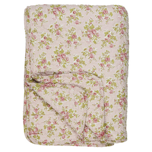 Load image into Gallery viewer, 130 x 180 cm Light Pink with Red Roses Cotton Quilt