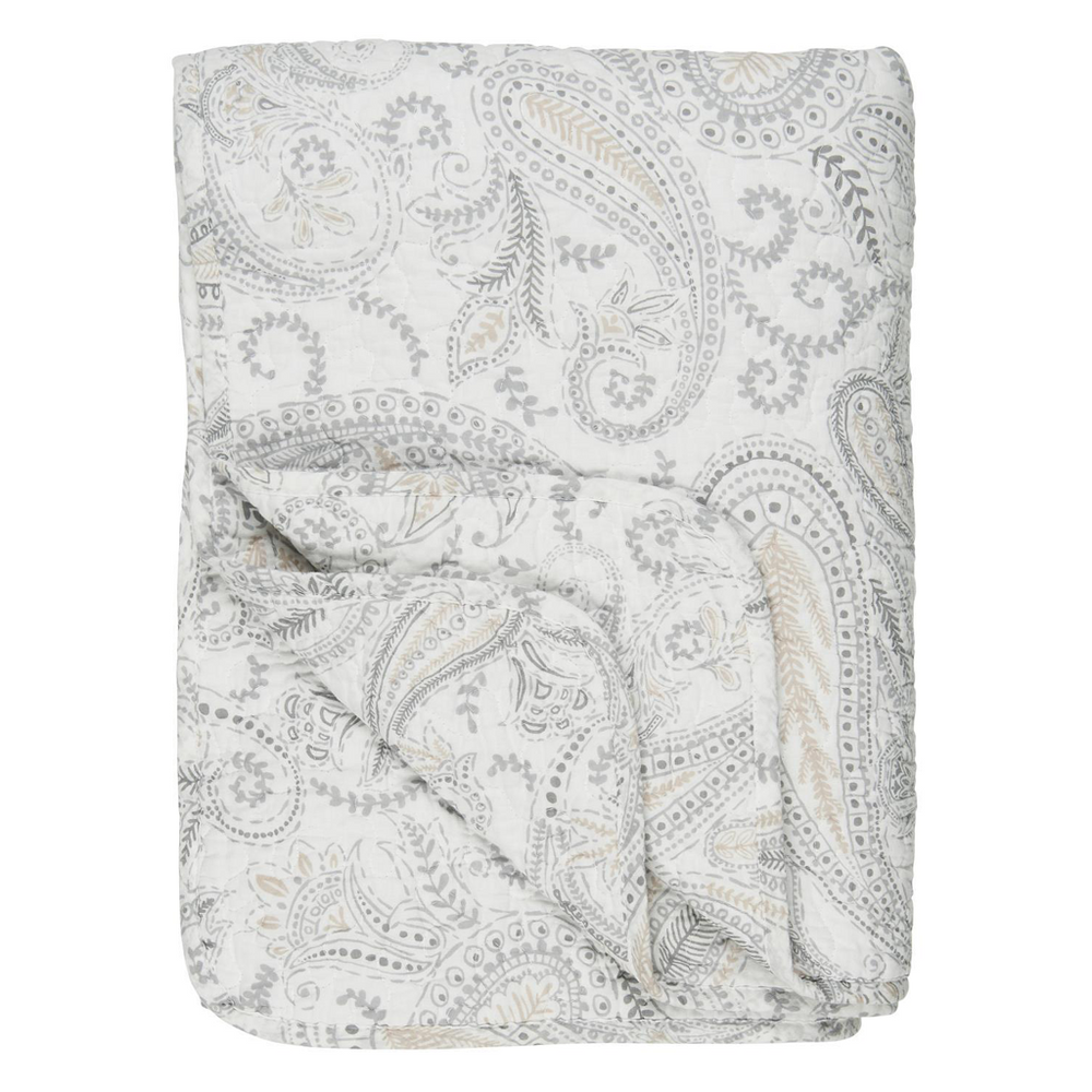 130 x 180 cm Creamy White with Buff and Soft Grey Paisley Pattern Cotton Quilt