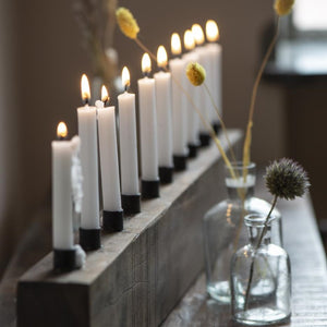 Long Wooden Block Candle Holder for Thin Candles