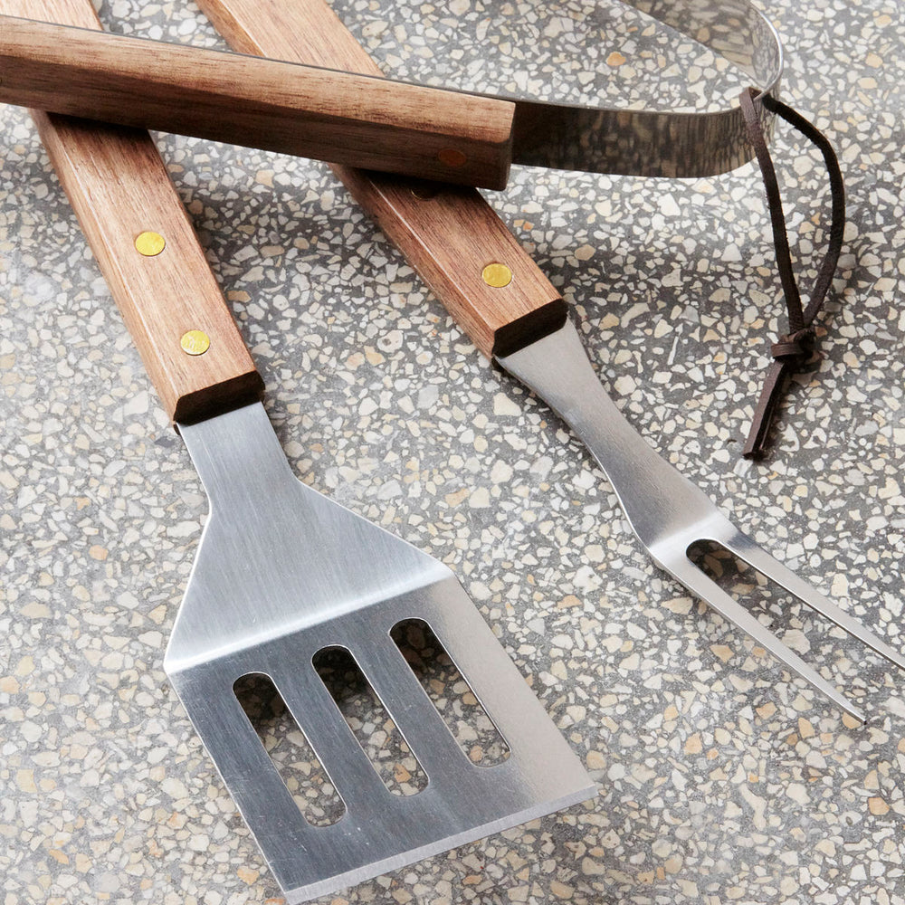 Set of 3 BBQ Tools with Wooden Handles